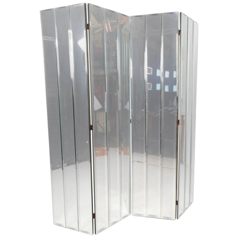 Stunning Mid Century Modern Four Panel Mirrored Room Divider For
