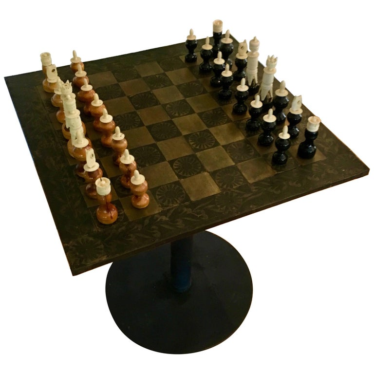 Metal Mexican Chess Board Table with Hand-Carved Wooden Chess Men