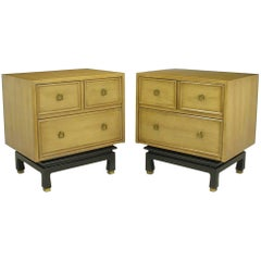 Pair of American of Martinsville Glazed Mahogany Nightstands