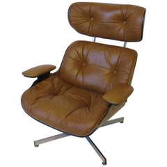 George Mulhauser for Plycraft Leather Lounge Chair in the Style of Eames