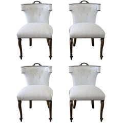 Set of Four Early 20th Century Linen Upholstered Dining Chairs