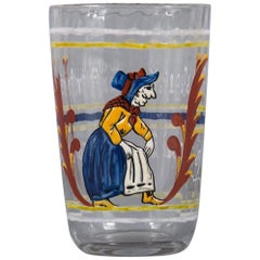 Unusual Emile Galle Enameled Glass Goblet