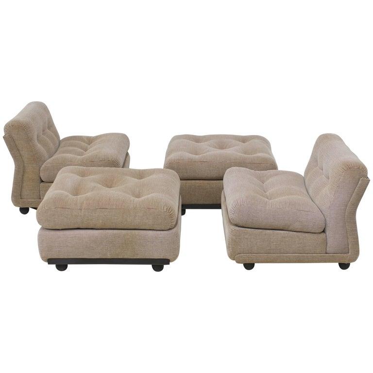 Pair of B&B Italia Mario Bellini Amanta Lounge Chairs and Ottomans