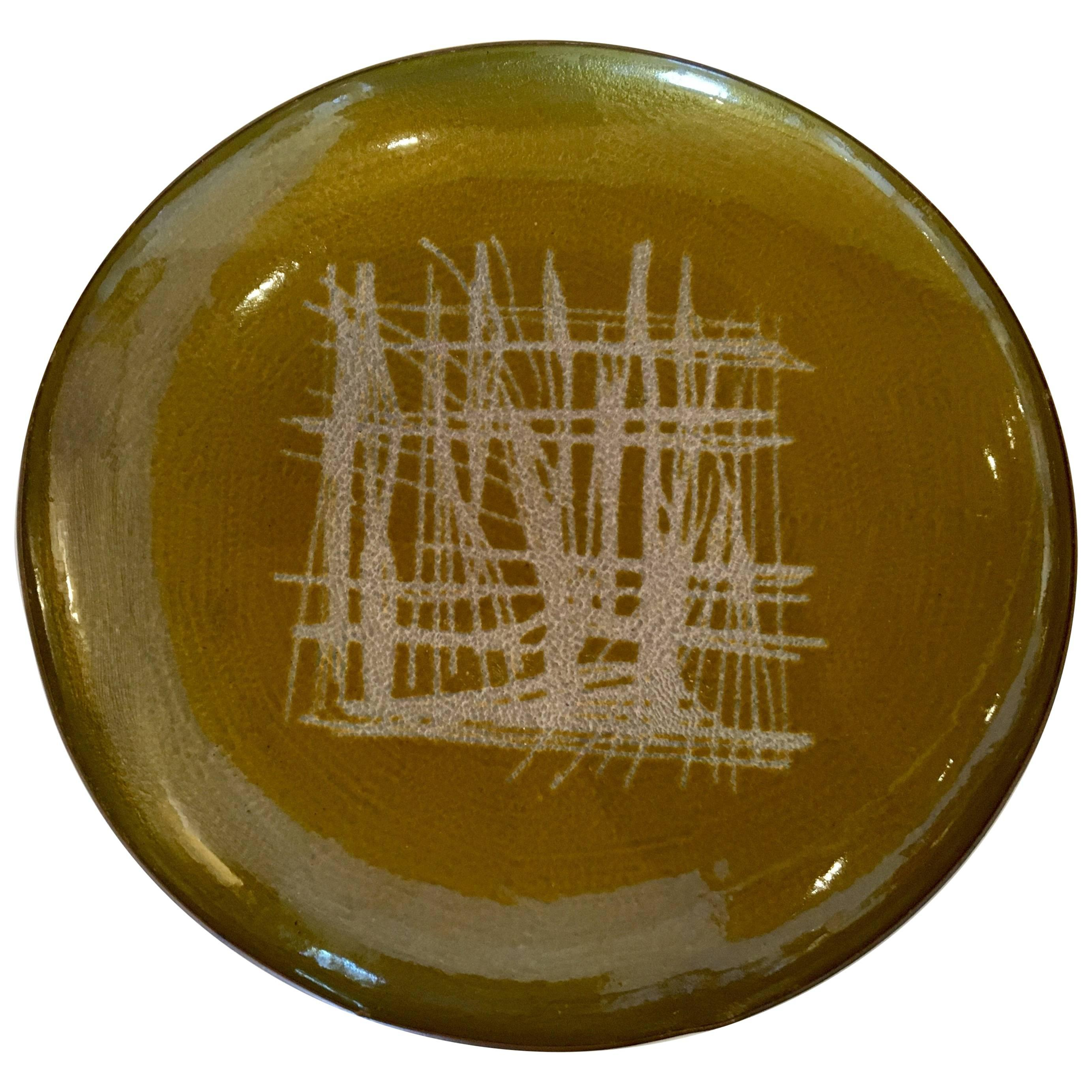 Danish Modern Rare Enamel on Copper Low Bowl by Arne Tjomsland