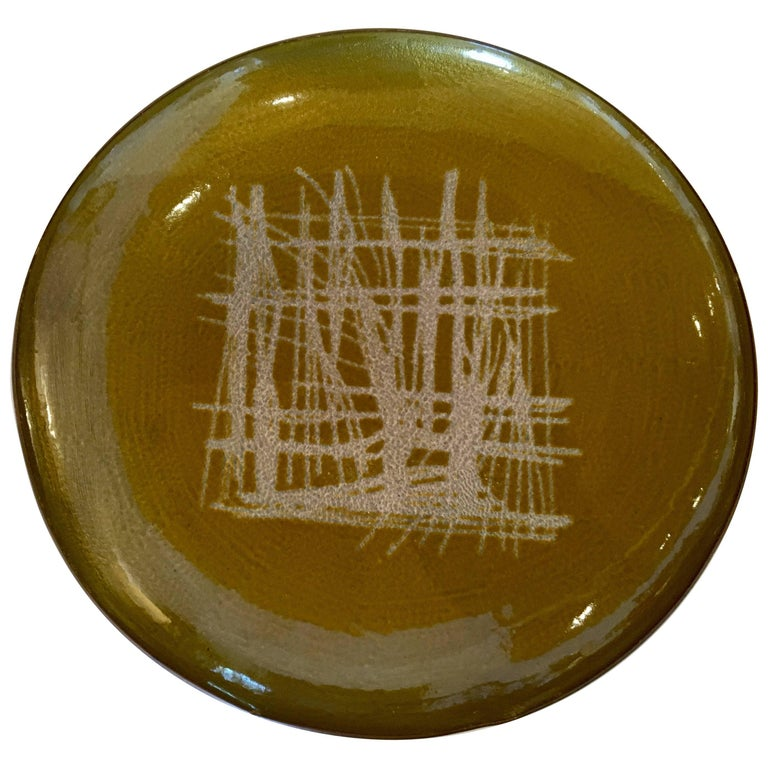 Danish Modern Rare Enamel on Copper Low Bowl by Arne Tjomsland For Sale