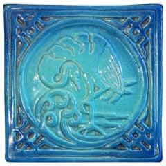 """Blue Flamingo,"" Fabulous Art Deco-Chinoiserie Tile by Woman Artist"