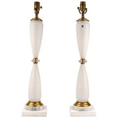 Pair of German Mid-Century Lamps in White Matte Glass