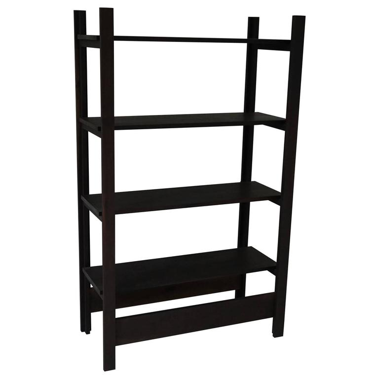 Upland Shelving Unit, Walnut Modern Minimal Bookshelf or Display Shelves For Sale