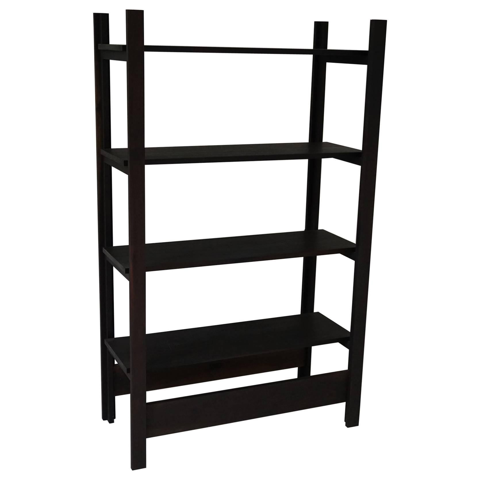 upland shelving unit walnut modern minimal bookshelf or display shelves