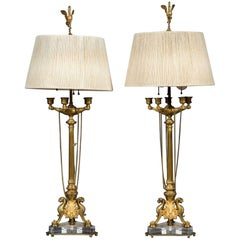 Very Fine Pair of 19th Century French Gilt Bronze Five-Branch Candelabras