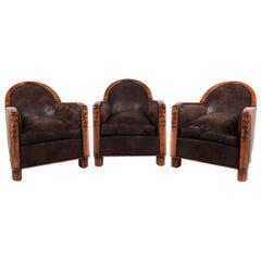 Three French Vintage Club Chairs Art Deco C.1930.