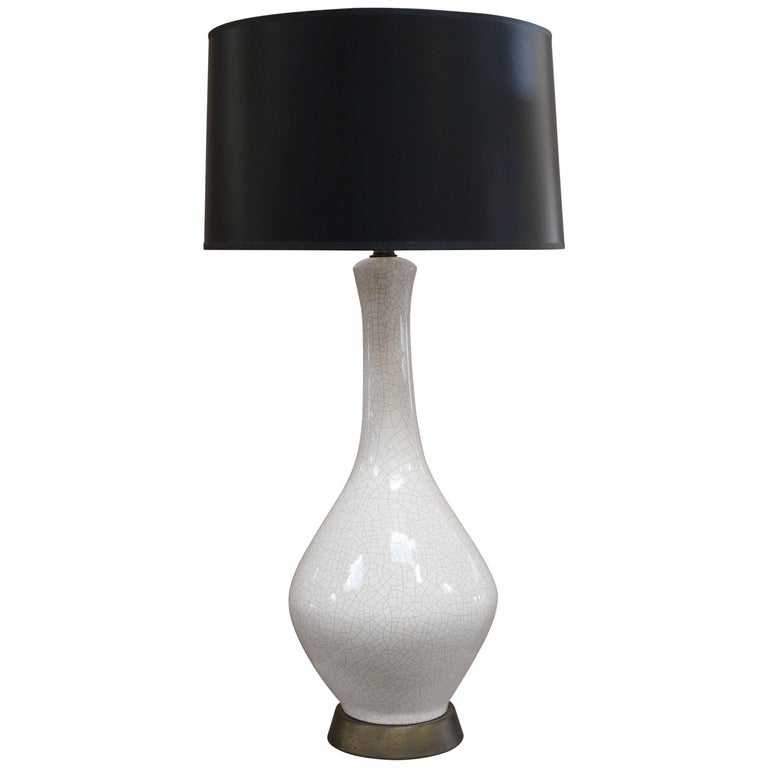 White Crackled Ceramic Table Lamp 1