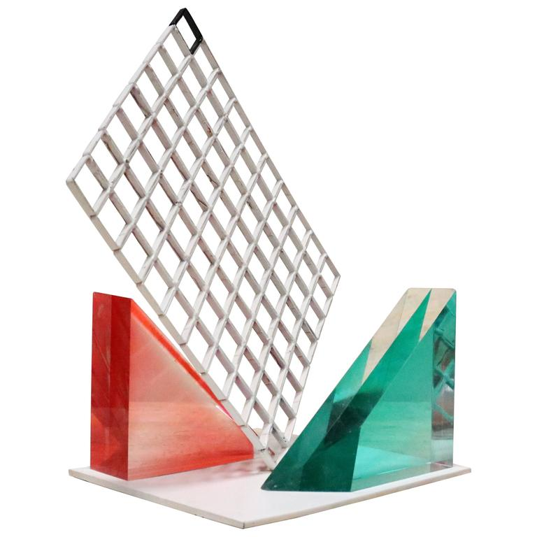 Unusual 1980s Lucite Block and Metal Grid Sculpture For Sale