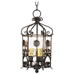 1920s Wrought Iron Pendant with Floral Motif