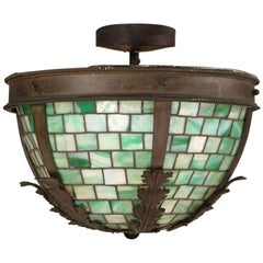 Attractive Larger-Scale 1910 Art Glass Ceiling Mount Chandelier