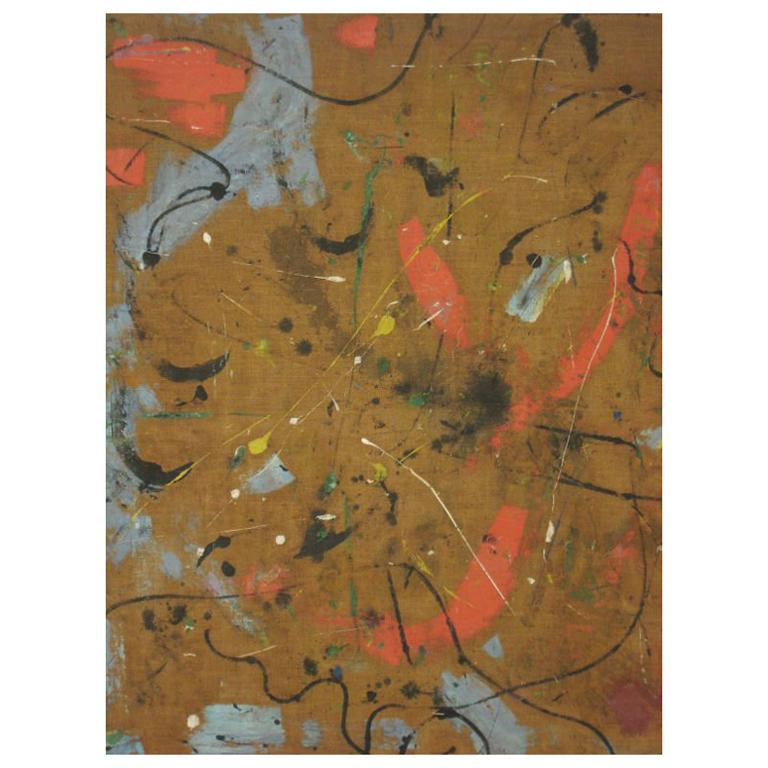 Large Flemish Midcentury Abstract Expressionist Painting by A.C. Hermkens, 1961 For Sale