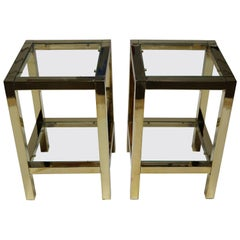 Pair of Low Brass Side Tables or Pedestal in the Manner of Maison Jansen