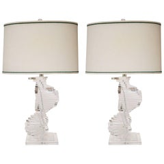 Helix Shaped Stepped Lucite Table Lamps, Pair