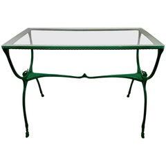 Mid-Century Neoclassic Glass Top Garden Table