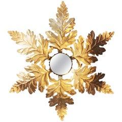 Art Deco 20th Century French Oak Leaf Sunburst Mirror