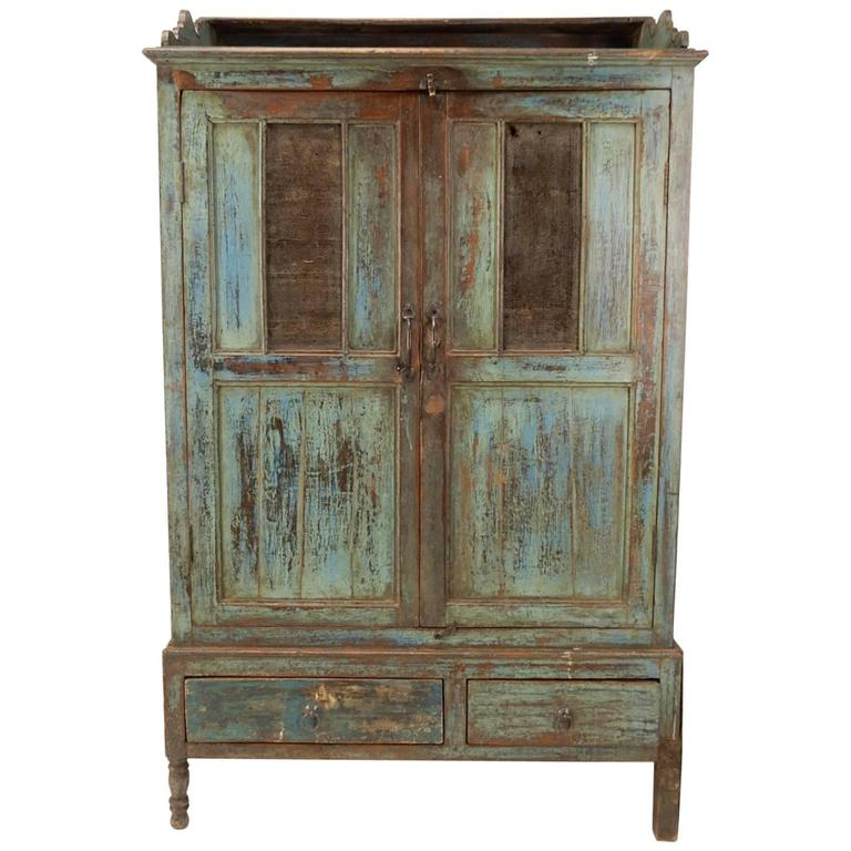 Late 19th Century Primitive Painted Farm Pie Safe Cabinet For Sale - Late 19th Century Primitive Painted Farm Pie Safe Cabinet For Sale