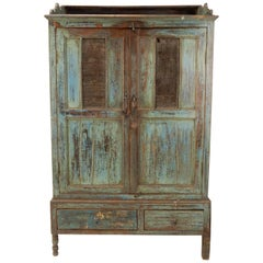 Late 19th Century Primitive Painted Farm Pie Safe Cabinet