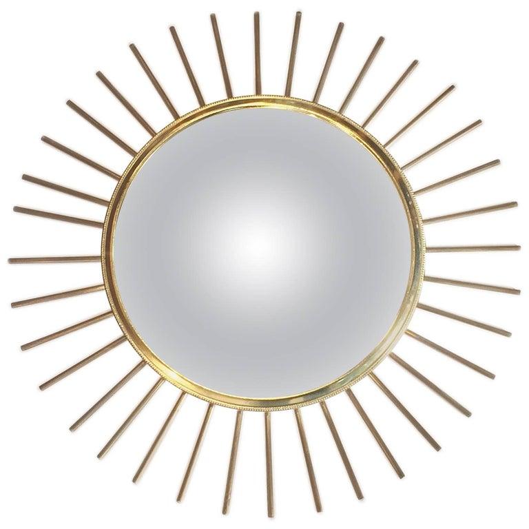 French Mid-Century Solid Ray Convex Sunburst Mirror