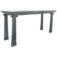 Post Modernist Architectural Console Table with Smoked Glass & Verdigris Finish