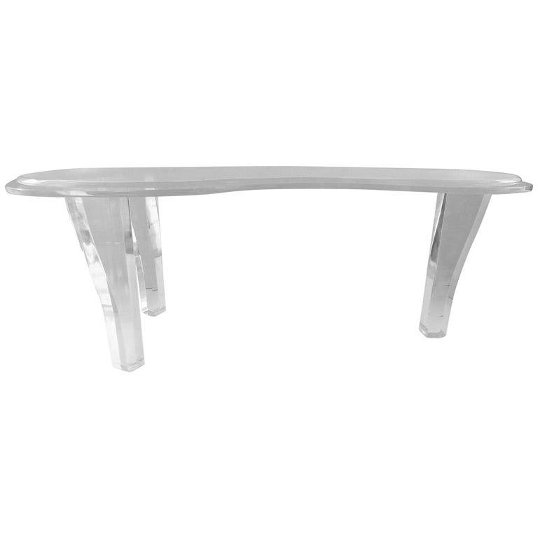 Custom made amoeba kidney shaped lucite coffee table for for Acrylic coffee tables for sale