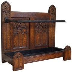 Striking Early 20th Century Hand-Carved Gothic Revival Umbrella and Stick Stand