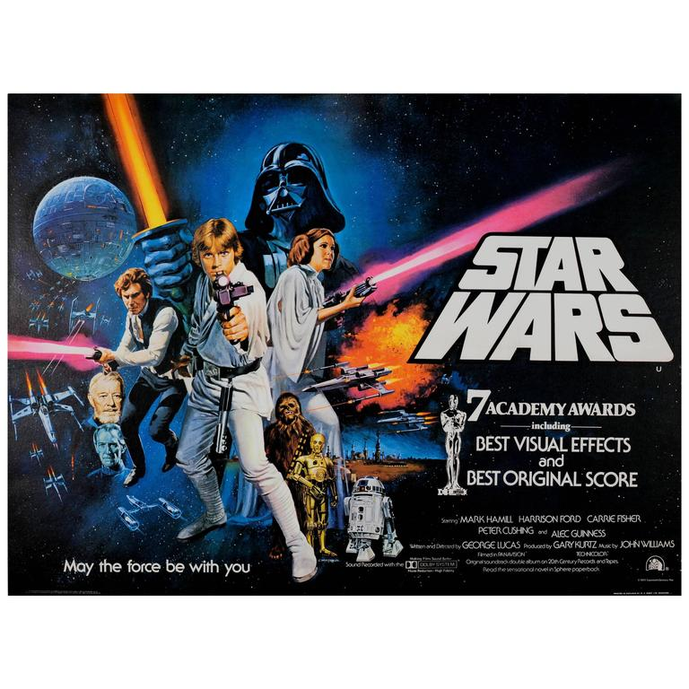 Original Vintage British Quad Sci-Fi Movie Poster for Star Wars 7 Academy  Awards