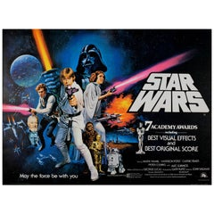Original Vintage British Quad Sci-Fi Movie Poster for Star Wars 7 Academy Awards