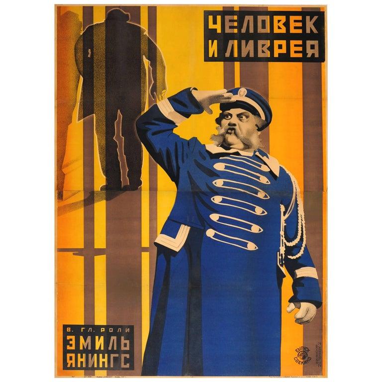 Original 1927 Constructivist Soviet Movie Poster Der Letzte Mann The Last Laugh For Sale