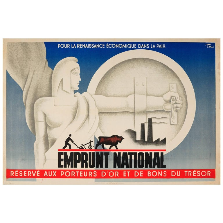 Original Vintage Art Deco French National Loan Peace Poster - Emprunt National