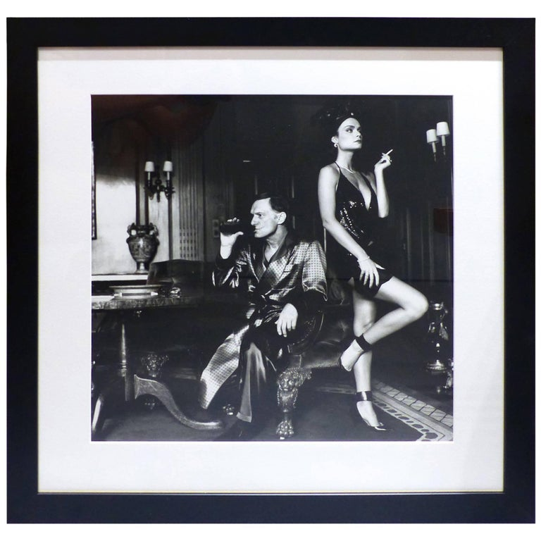 helmut newton framed poster hugh hefner and carrie leigh beverly hills 1984 at 1stdibs. Black Bedroom Furniture Sets. Home Design Ideas