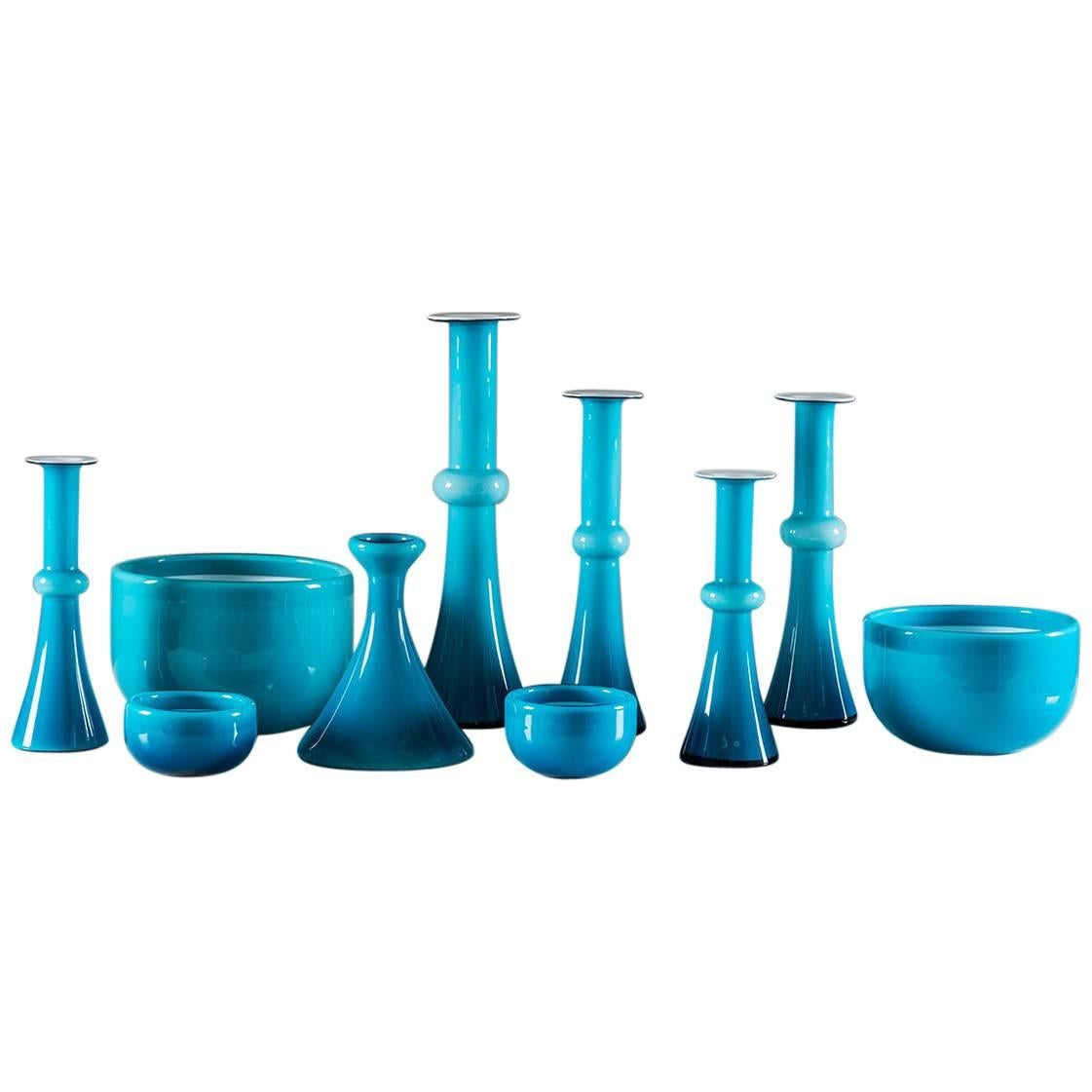 Collection of Scandinavian Blue Glass by Per Lutken for Holmegaard