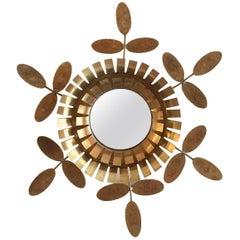 1960s Chatty Vallauris Floral Brass Mirror