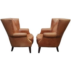 Pair of Oversized Vintage Leather Wingback Chairs