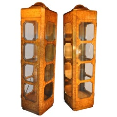 Elegant Pair of Burl Wood Mastercraft Curio Cabinets