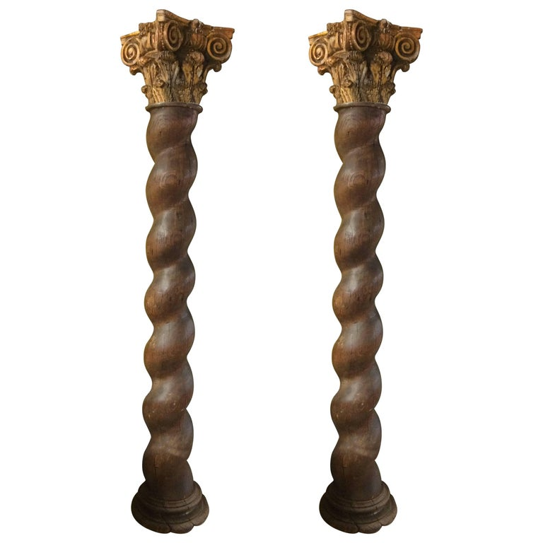 Spectacular Pair of French Corinthian Oak Carved Columns
