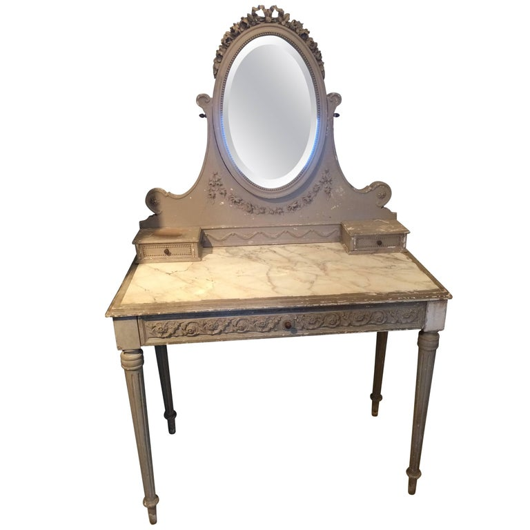 Romantic Painted Wood and Marble French Vintage Vanity