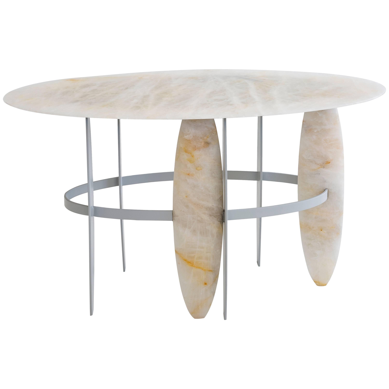 Contemporary Pablona Moon White Quartzite Lumix Side Table by Leonardo Di Caprio