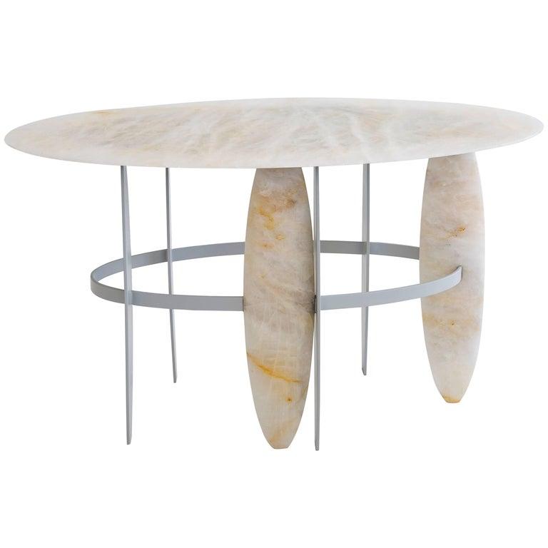 Contemporary Pablona Moon White Quartzite Lumix Side Table by Leonardo Di Caprio For Sale