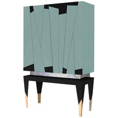 Frida Cabinet in Cyan Ashwood by Fratelli Basile, Made in Italy