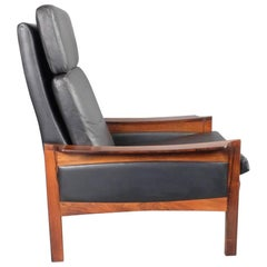 1960s Danish Black Leather and Rosewood High Back Lounge Chair