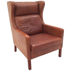 Danish Stouby Tan Leather High Back Club Armchair Midcentury Chair, 1960s