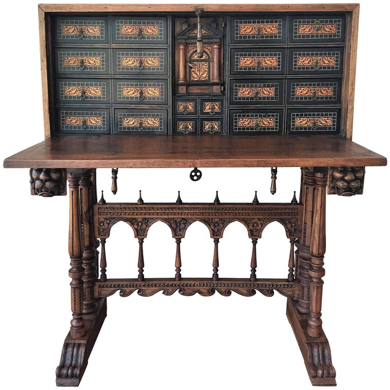 17th Century Bargueno of Columns with Foot Bridge, Spain, Cabinet on Stand