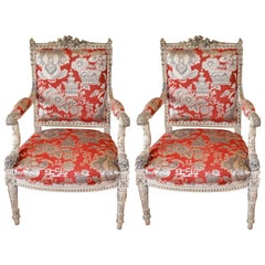 Pair of 19th Century Hand-Carved Armchair New Upholstery in Chinoiserie Fabric