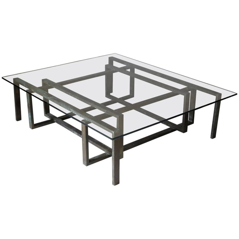 large brass and glass coffee table france circa 1950s for sale at 1stdibs. Black Bedroom Furniture Sets. Home Design Ideas