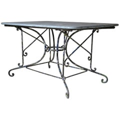 French 1880s Polychrome Wrought Iron and Granite Table